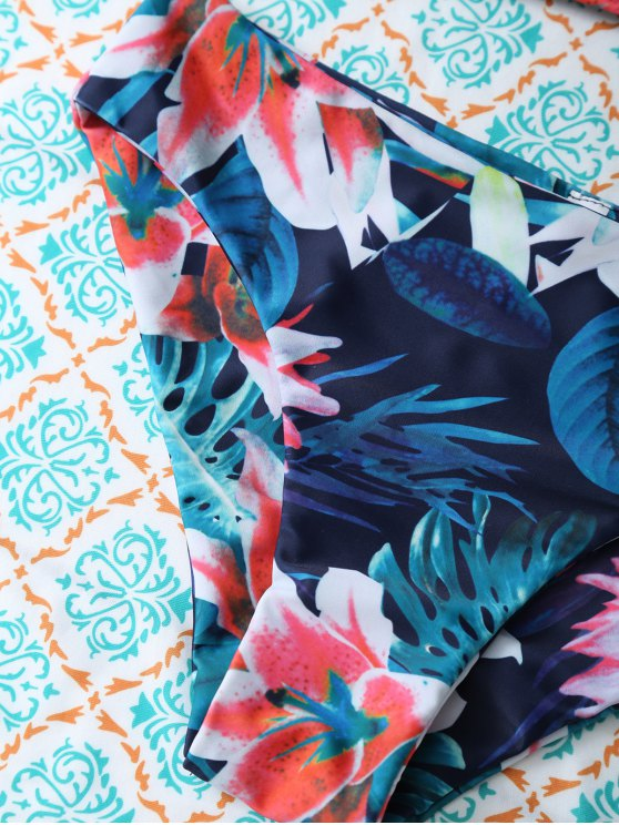 Flower Halter Bikini Set - BLUE L Mobile