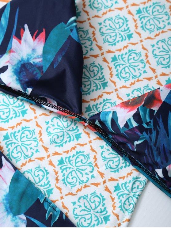Flower Halter Bikini Set - BLUE S Mobile