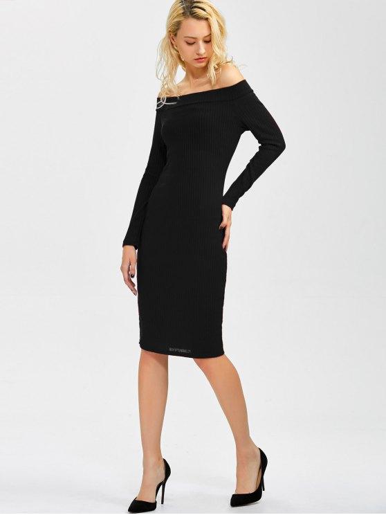 Off Shoulder Bodycon Long Sleeve Dress - BLACK L Mobile