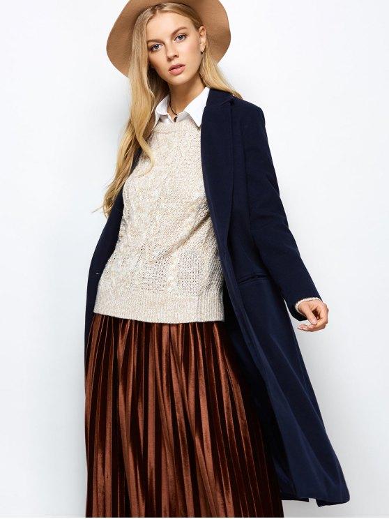 Laple Collar Maxi Coat - PURPLISH BLUE 2XL Mobile