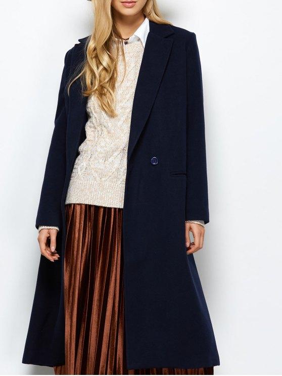 outfit Laple Collar Maxi Coat - PURPLISH BLUE S