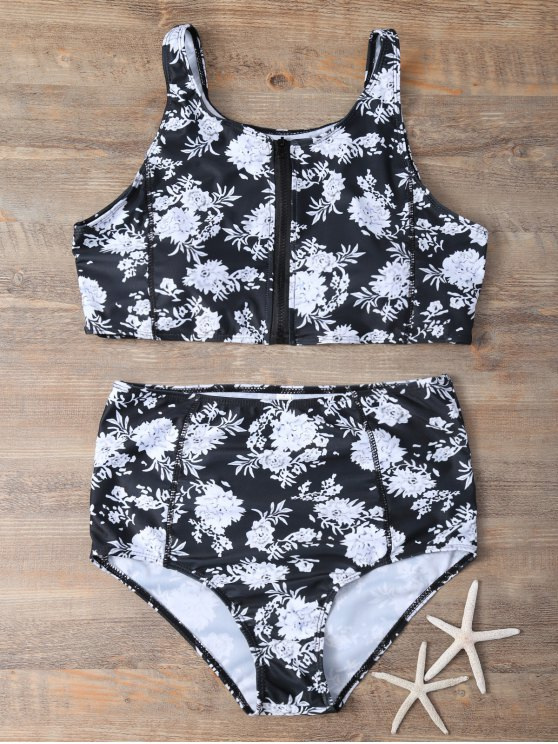 Full Zip Floral Bikini Set - BLACK S Mobile
