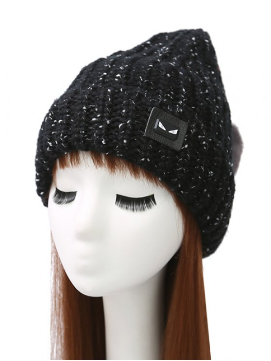 Demon Label Flanging Knit Hat - Black