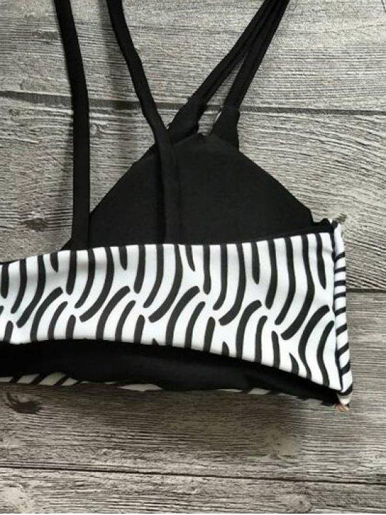 Zebra Print Strappy Bikini Set - WHITE AND BLACK S Mobile