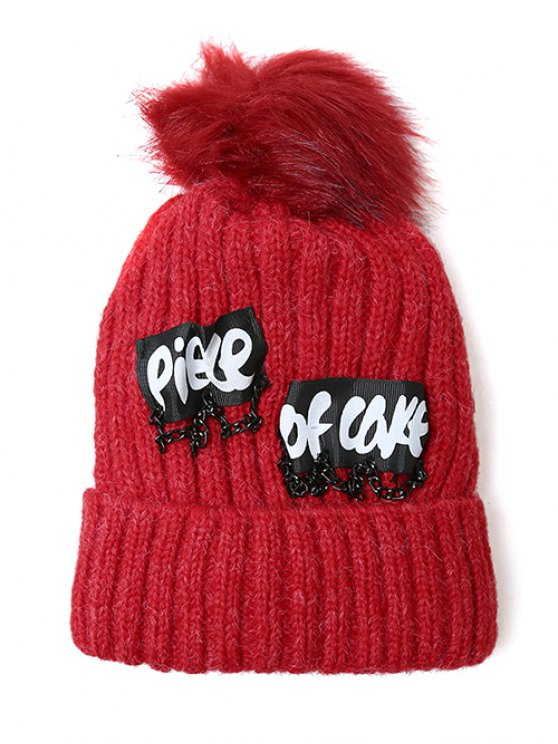 Chain Letter Embellished Pom Hat - BRIGHT RED  Mobile