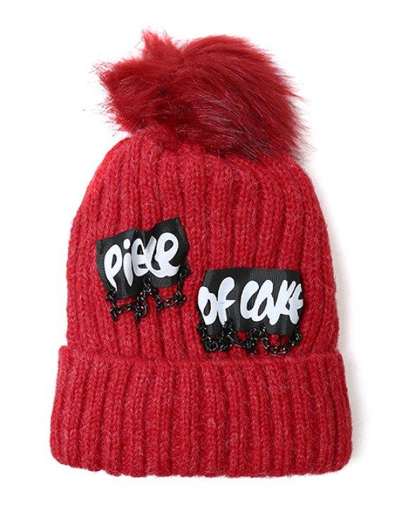 Chain Letter Embellished Pom Hat - BRIGHT RED  Mobile