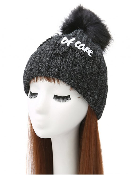 Chain Letter Embellished Pom Hat - BLACK  Mobile