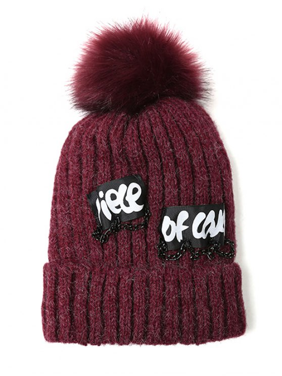Chain Letter Embellished Pom Hat - WINE RED  Mobile