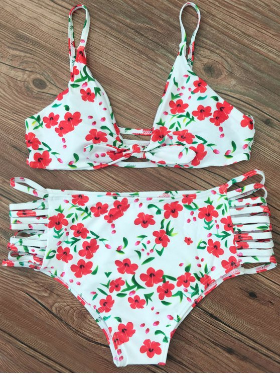 Cami Strappy Floral Bikini Set - WHITE M Mobile