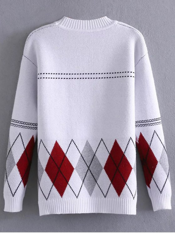 Argyle Jacquard Mock Neck Sweater - WHITE ONE SIZE Mobile