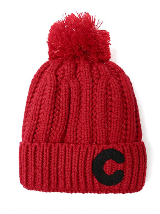 Letter C Pom Ball Knitted Beanie - RED  Mobile