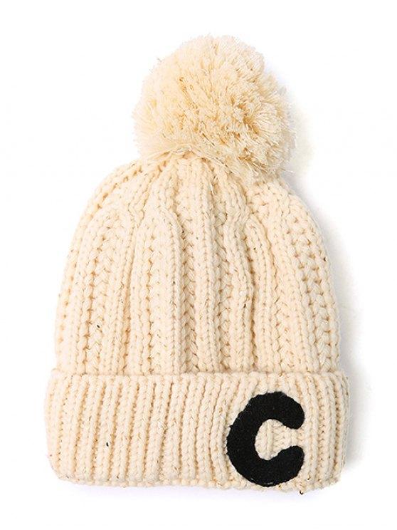 Letter C Pom Ball Knitted Beanie - BEIGE  Mobile