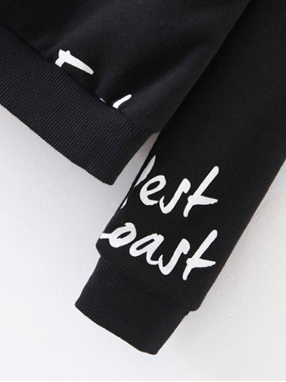 West Coast Raglan Sleeves Sweatshirt - BLACK S Mobile