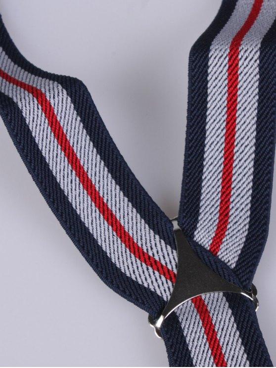 Striped Adjustable Three Clips Elastic Suspenders - PURPLISH BLUE  Mobile