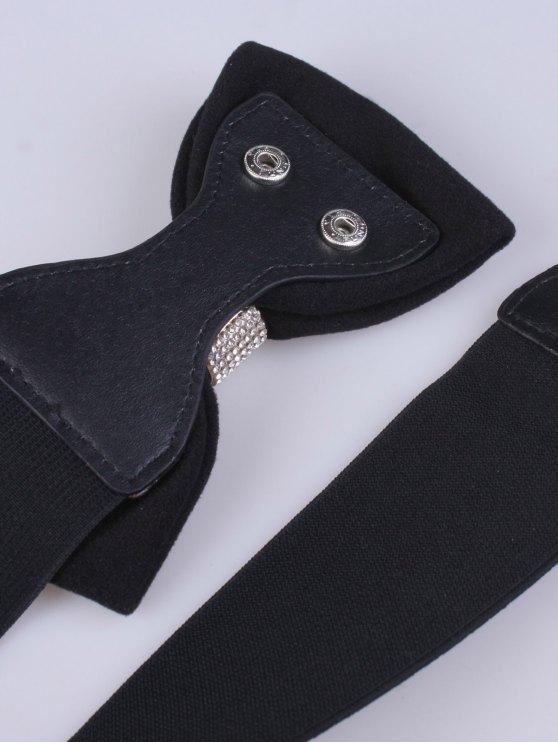 Wide Rhinestone Bowknot Stretch Belt -   Mobile