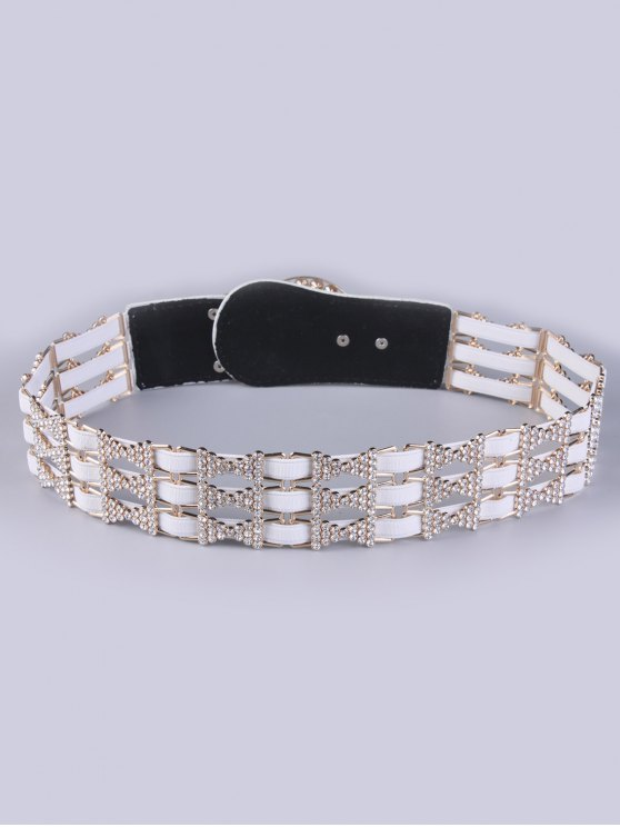 Rhinestoned Hollowed Stretch Belt - OFF-WHITE  Mobile