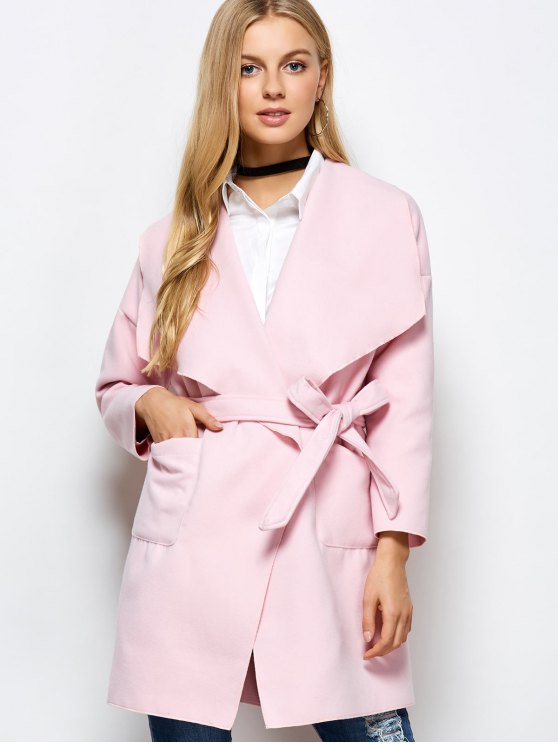 Wrap Woolen Coat With Pockets - PINK L Mobile
