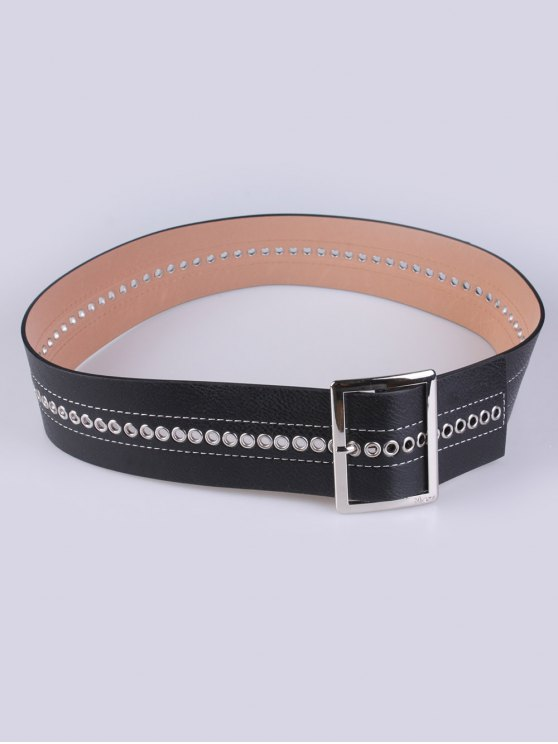 Hollowed Square Buckle PU Belt -   Mobile