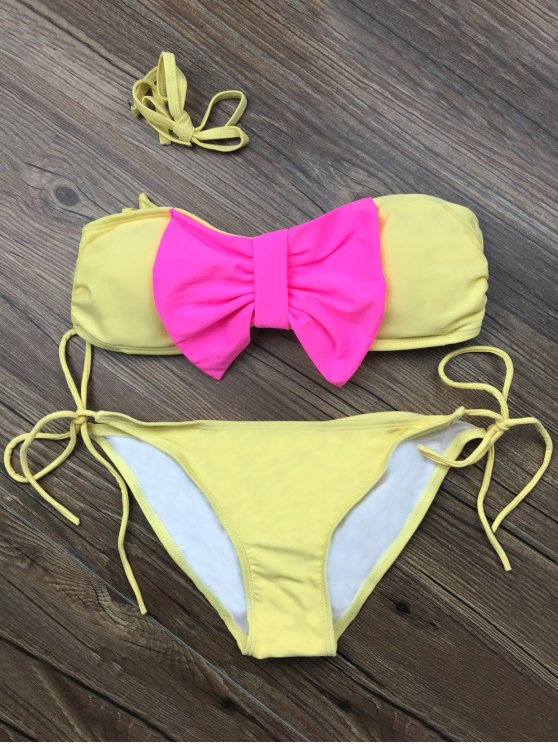 Bowknot Halter String Bikini Set - YELLOW L Mobile