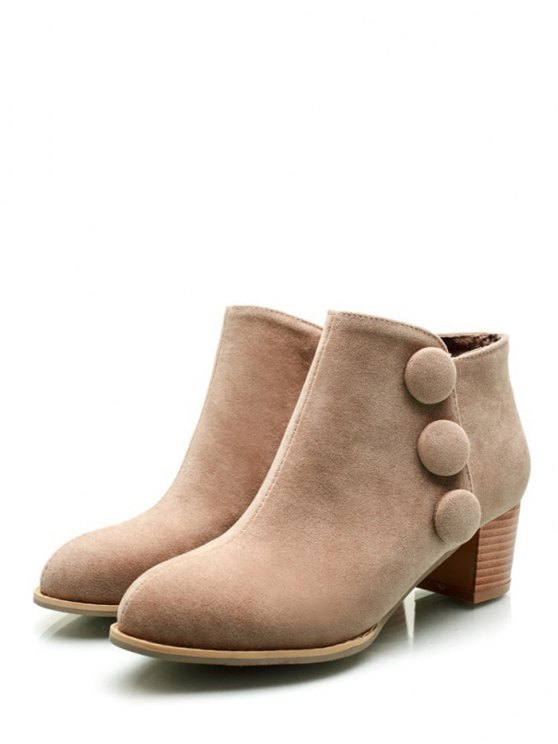 Chunky Heel Buttons Ankle Boots - LIGHT CAMEL 39 Mobile