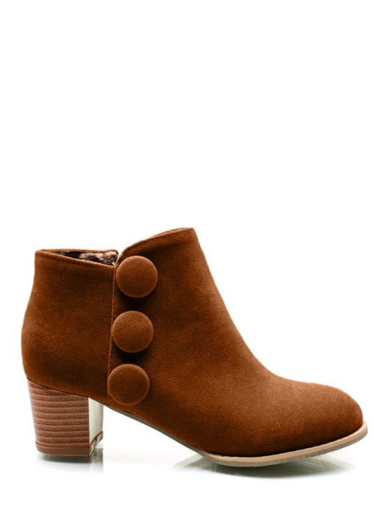 Chunky Heel Buttons Ankle Boots - BROWN 39 Mobile