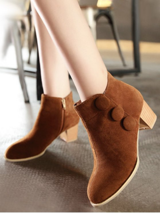 Chunky Heel Buttons Ankle Boots - BROWN 37 Mobile