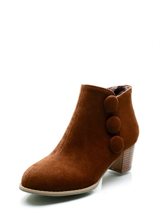 Chunky Heel Buttons Ankle Boots - BROWN 38 Mobile