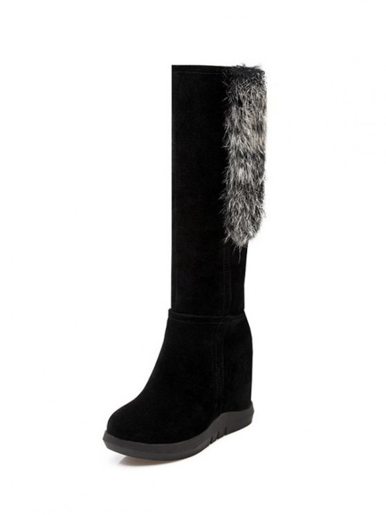 Faux Fur Mid Calf Hidden Wedge Boots - BLACK 38 Mobile