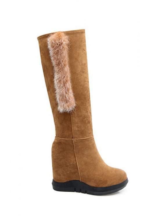 Faux Fur Mid Calf Hidden Wedge Boots - LIGHT BROWN 38 Mobile