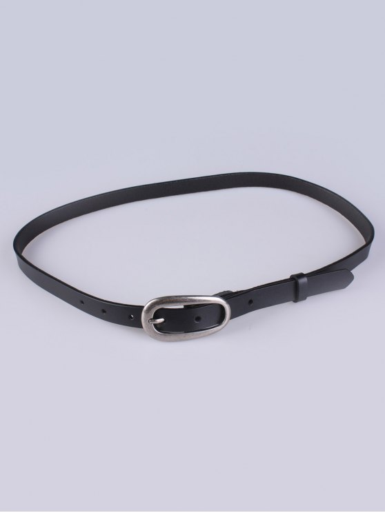 Faux Leather Pin Buckle Skinny Belt - BLACK  Mobile