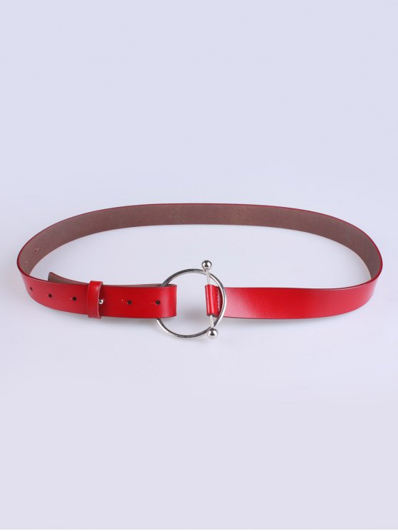 Skinny Round Buckle Faux Leather Belt - RED  Mobile
