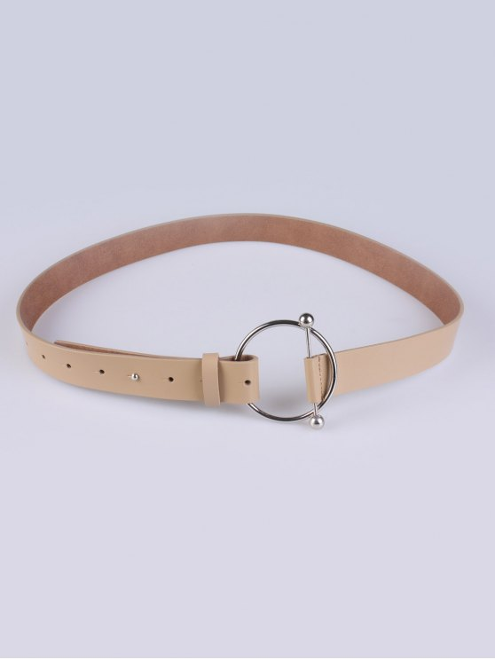 outfit Skinny Round Buckle Faux Leather Belt - KHAKI