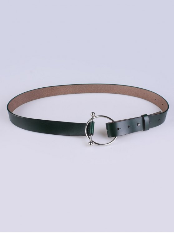 Skinny Round Buckle Faux Leather Belt - DEEP GREEN  Mobile