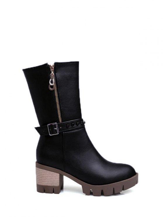 Rivet Buckle Chunky Heel Mid Calf Boots - BLACK 37 Mobile