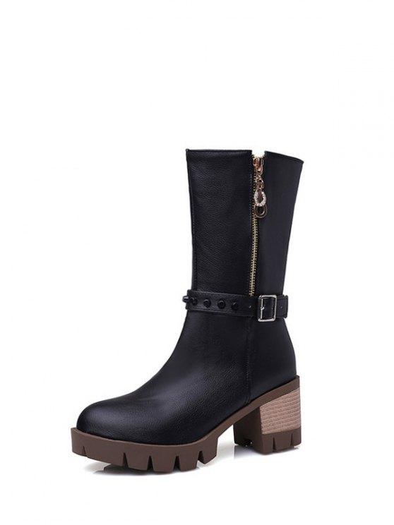 Rivet Buckle Chunky Heel Mid Calf Boots - BLACK 38 Mobile