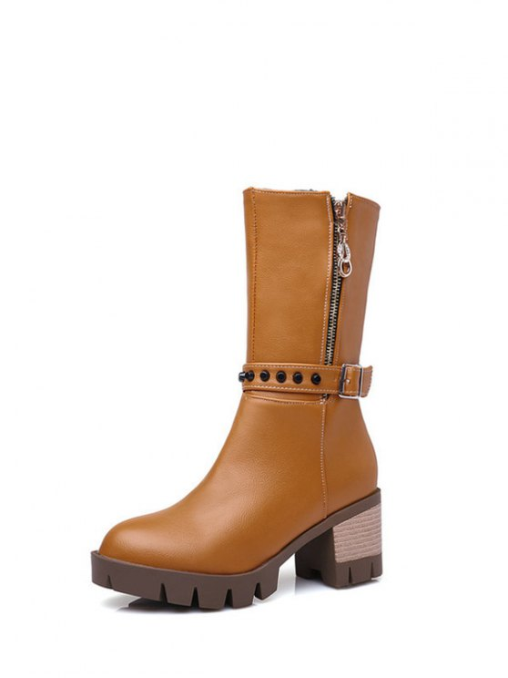 Rivet Buckle Chunky Heel Mid Calf Boots - BROWN 37 Mobile