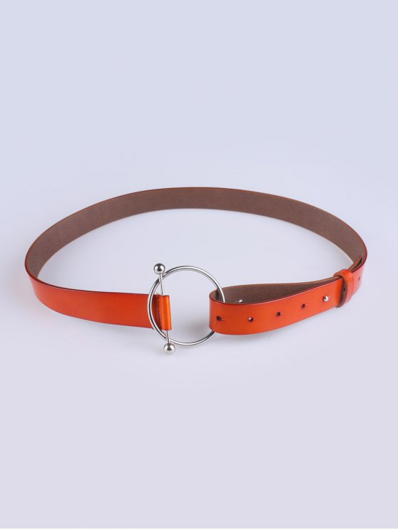 Skinny Round Buckle Faux Leather Belt - JACINTH  Mobile