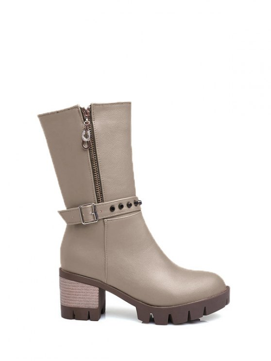 Rivet Buckle Chunky Heel Mid Calf Boots - GRAY 39 Mobile