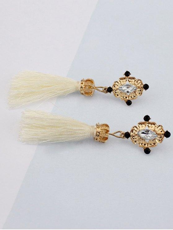 Rhinestone Tassel Crown Earrings -   Mobile