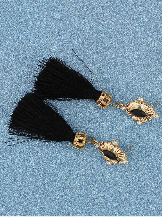 Rhinestone Tassel Crown Earrings -   Mobile