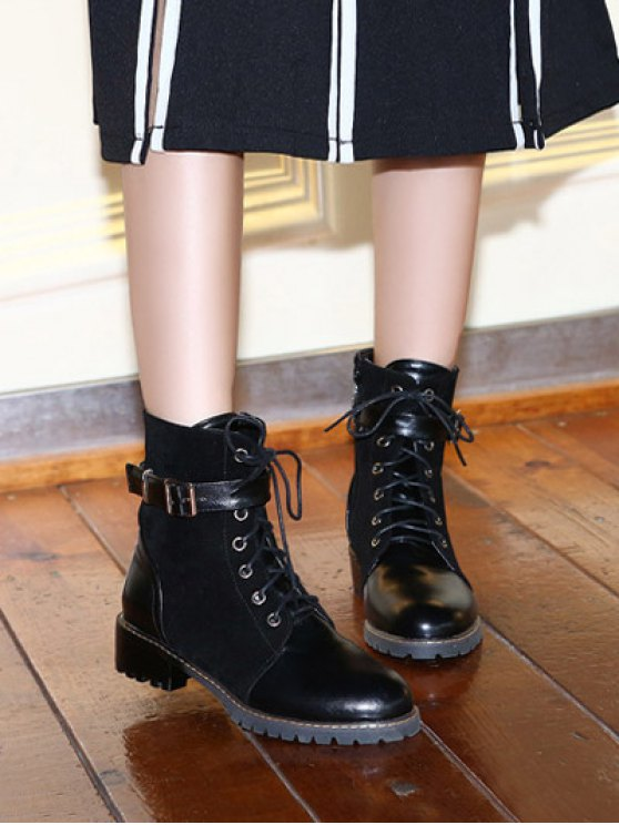 Buckle Strap Suede Panel Combat Boots - BLACK 37 Mobile
