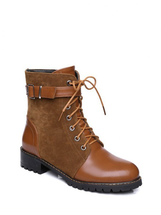 Buckle Strap Suede Panel Combat Boots - BROWN 38 Mobile