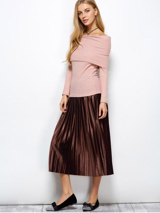 Accordion Pleat Midi Velvet Skirt - COFFEE ONE SIZE Mobile
