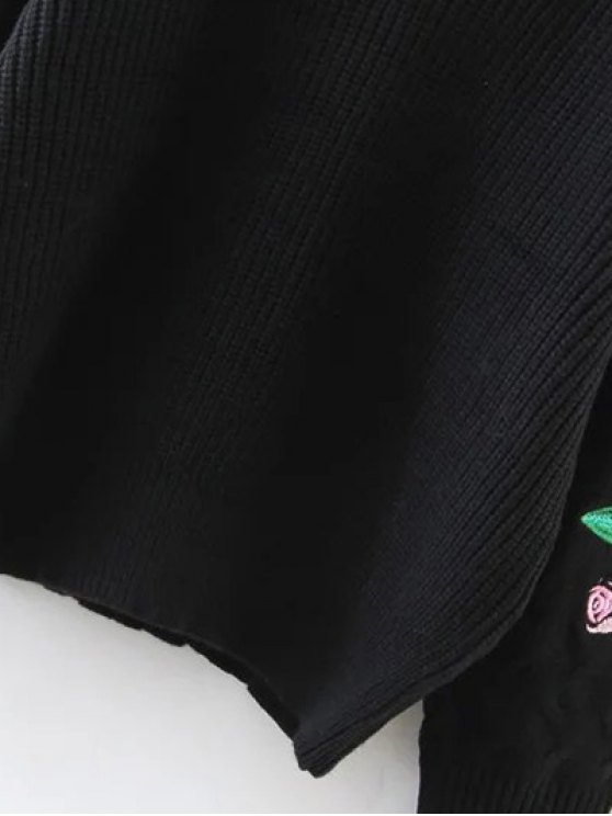 Rose Embroidered Sweater - BLACK ONE SIZE Mobile