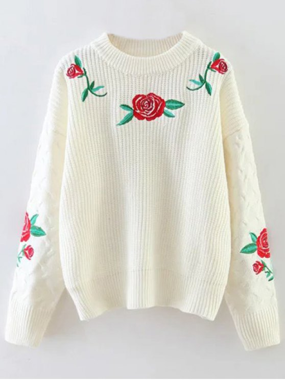 Rose Embroidered Sweater - OFF-WHITE ONE SIZE Mobile
