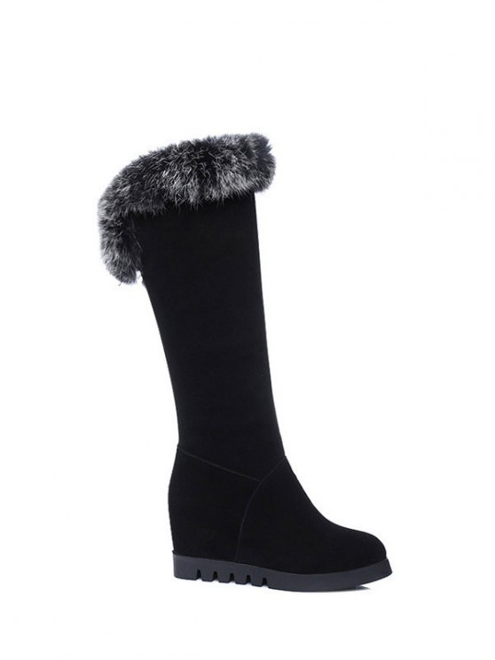 Mid Calf Hidden Wedge Furry Boots - BLACK  Mobile