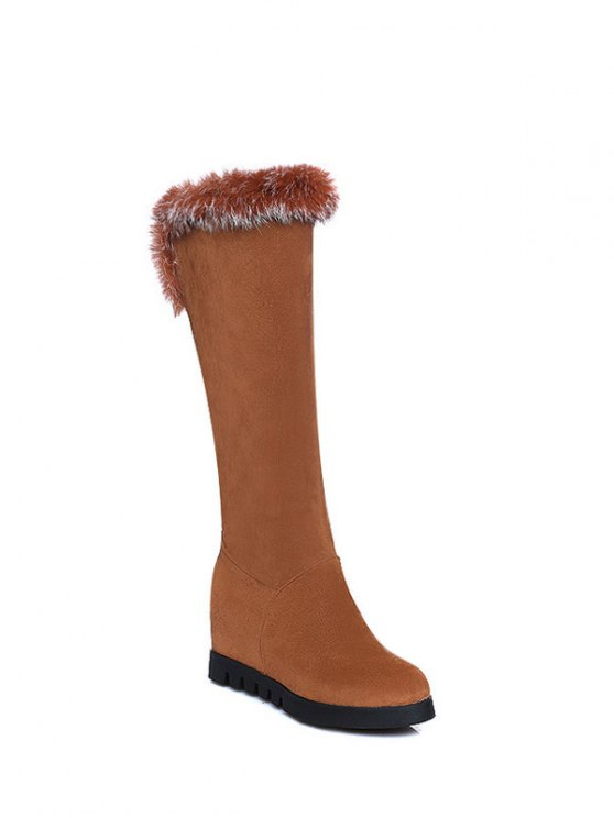 Mid Calf Hidden Wedge Furry Boots - BROWN  Mobile
