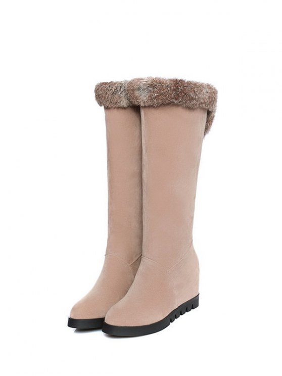 Mid Calf Hidden Wedge Furry Boots - APRICOT  Mobile