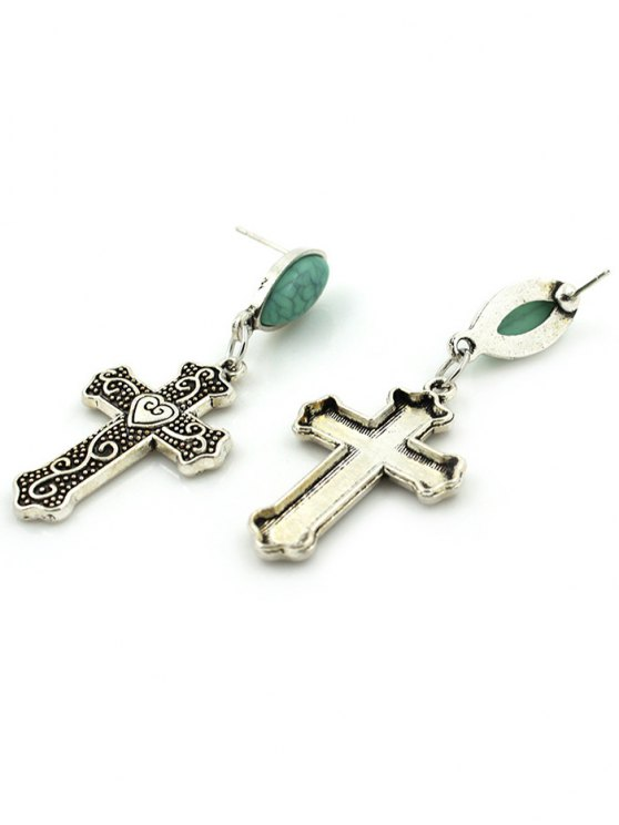 Fake Gemstone Heart Crucifix Earrings - SILVER  Mobile