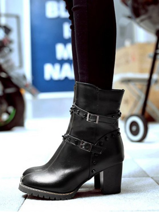 Buckle Straps Rivet Chunky Heel Boots - BLACK 37 Mobile